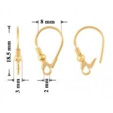 925 Sidabriniai užsegami auskarų kabliukai 18.5mm padengti auksu
