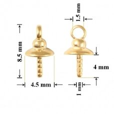 925 Silver Bail with Pin Cup 4.5mm Gold plated (3 pcs)