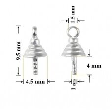 925 Silver Bail with Pin Cup 9.5mm (3 pcs)