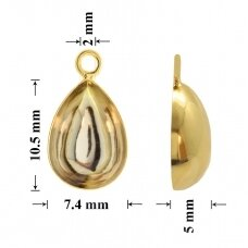 925 Silver Bail 10.5x7.4mm Gold plated (for gluing Swarovski 4320 Pear 10x7mm)