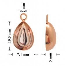 925 Silver Bail 10.5x7.4mm Rose Gold plated (for gluing Swarovski 4320 Pear 10x7mm)