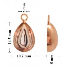 925 Silver Bail 14.5x10.2mm Rose Gold plated (for gluing Swarovski 4320 Pear 14x10mm)