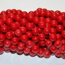jsakpe-raud-apv-08 apie 8 mm, apvali forma, raudona spalva, perlų masė, apie 48 vnt.