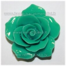 akr0006 about 34 x 12 mm, turquoise color, acrylic flower, 1 pc.