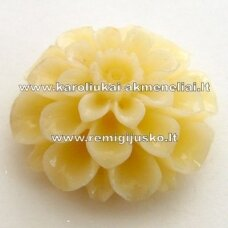 akr0014 about 24 x 12 mm, light yellow color, acrylic flower, 1 pc.