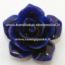 AKR0015 apie 27 x 14 mm, mėlyna akrilinė gėlytė, 1 vnt.