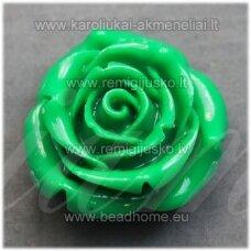 akr0097 apie 19 x 12 mm, žalia spalva, akrilinė gėlytė, 1 vnt.