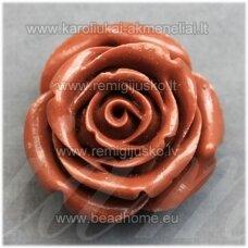 akr0117 apie 14 x 9 mm, ruda spalva, akrilinė gėlytė, 1 vnt.
