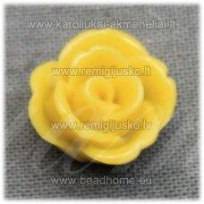 akr0119 apie 12 x 8 mm, geltona spalva, akrilinė gėlytė, 1 vnt.