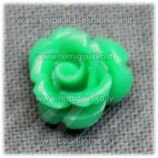 akr0133 apie 8 x 5 mm, žalia spalva, akrilinė gėlytė, 1 vnt.