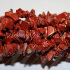 AKSKAL0019 apie 4 - 8 mm, raudonasis jaspis, skalda, 80 cm.