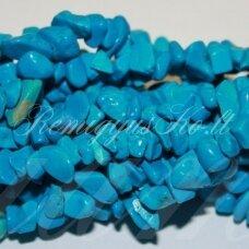 akskal0175 apie 11 - 15 mm, dažytas, mėlyna spalva, hovlitas, skalda, 80 cm.