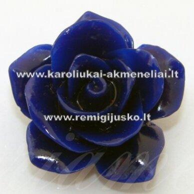 AKR0015 apie 27 x 14 mm, mėlyna spalva, akrilinė gėlytė, 1 vnt.