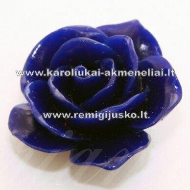 akr0018 apie 22 x 13 mm, tamsi, mėlyna spalva, akrilinė gėlytė, 1 vnt.