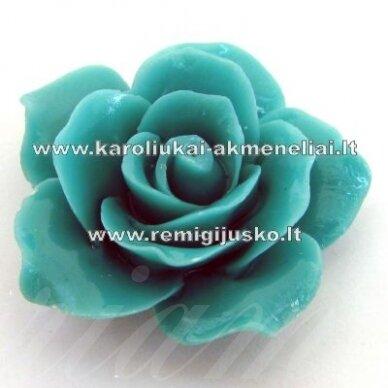 akr0061 apie 25 x 13 mm, turkio spalva, akrilinė gėlytė, 1 vnt.