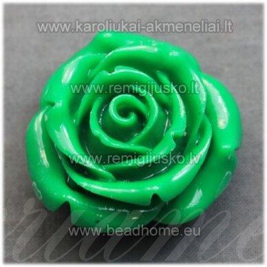 akr0067 apie 34 x 21 mm, žalia spalva, akrilinė gėlytė, 1 vnt.