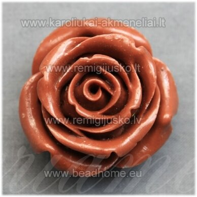 akr0072 apie 34 x 21 mm, ruda spalva, akrilinė gėlytė, 1 vnt.