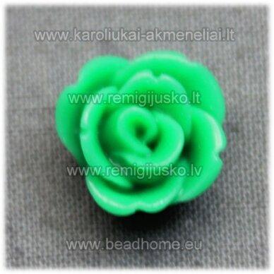 akr0122 apie 12 x 8 mm, žalia spalva, akrilinė gėlytė, 1 vnt.