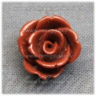 akr0123 apie 12 x 8 mm, ruda spalva, akrilinė gėlytė, 1 vnt.