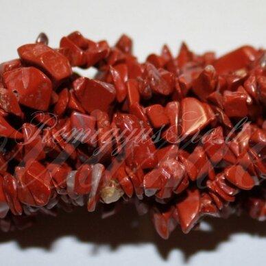 AKSKAL0019-11x15 apie 11-15 mm, raudonasis jaspis, skalda, 80 cm.