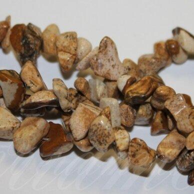 akskal0210 apie 4 - 8 mm, paveikslinis jaspis, skalda, 80 cm.