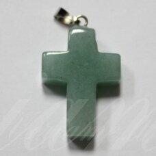 apa0074 apie 25 x 18 x 6 mm, kryželio forma, akmeninis pakabukas, 1 vnt.