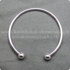 APYR0001 apie 7 cm, sidabro spalva, apyrankė, su dviem burbuliukais, 1 vnt.