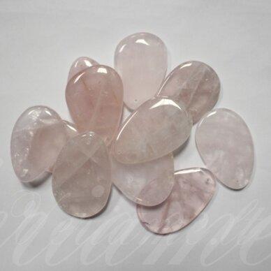 apa0003 apie 50x30-70x40 mm, rožinis kvarcas, pakabukas, 1 vnt.