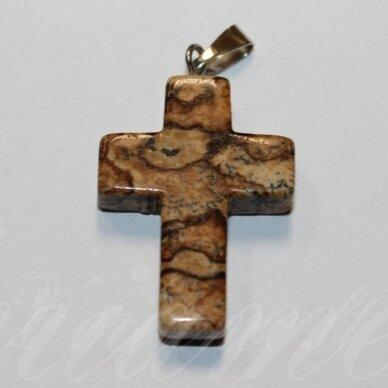 apa0057 apie 25 x 18 x 6 mm, kryželio forma, akmeninis pakabukas, 1 vnt.