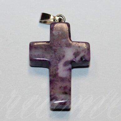 apa0058 apie 25 x 18 x 6 mm, kryželio forma, akmeninis pakabukas, 1 vnt.