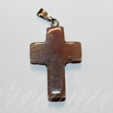 apa0061 apie 25 x 18 x 6 mm, kryželio forma, akmeninis pakabukas, 1 vnt.