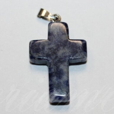 apa0064 apie 25 x 18 x 6 mm, kryželio forma, akmeninis pakabukas, 1 vnt.