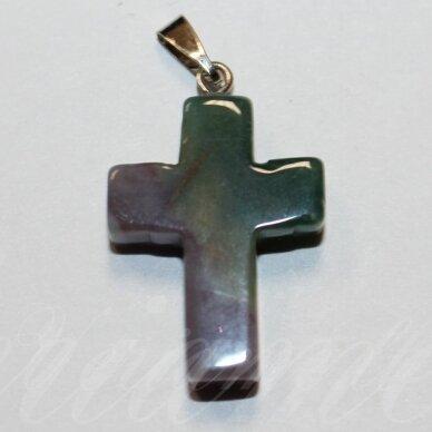 APA0065 apie 25 x 18 x 6 mm, kryželio forma, akmeninis pakabukas, 1 vnt.