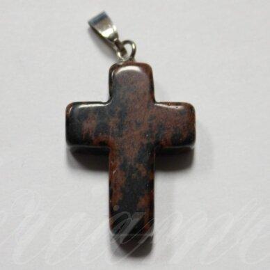 apa0072 apie 25 x 18 x 6 mm, kryželio forma, akmeninis pakabukas, 1 vnt.
