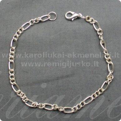 about 23 cm ilgis, silver color, bracelet, chain, 1 pc.