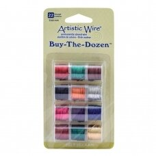 Artistic Wire® Buy the Dozen™ vielutė 22 Gauge/0.64mm įvairios spalvos (4.5m/5yd kiekviena)