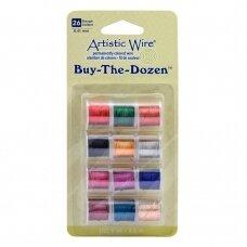 Artistic Wire® Buy the Dozen™ vielutė 26 Gauge/0.41mm įvairios spalvos (4.5m/5yd kiekviena)