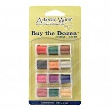 Artistic Wire® Buy the Dozen™ vielutė 28 Gauge/0.32mm įvairios spalvos (4.5m/5yd kiekviena)