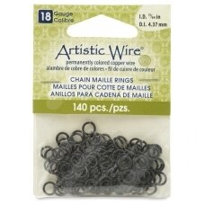 Artistic Wire® Chain Maille Rings 18 Gauge/4.37mm Black (140 pcs)