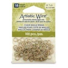 Artistic Wire® Chain Maille atviri žiedeliai/kilputės 18 Gauge/4.37mm Brass (žalvario spalvos) (100 vnt)