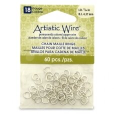 Artistic Wire® Chain Maille Rings 18 Gauge/4.37mm Silver (60 pcs)