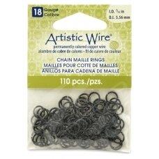 Artistic Wire® Chain Maille atviri žiedeliai/kilputės 18 Gauge/5.56mm Black (juodi) (110 vnt)