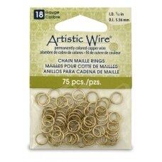 Artistic Wire® Chain Maille atviri žiedeliai/kilputės 18 Gauge/5.56mm Brass (žalvario spalvos) (75 vnt)
