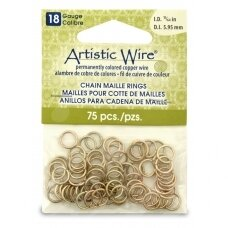 Artistic Wire® Chain Maille Rings 18 Gauge/5.95mm Brass (75 pcs)