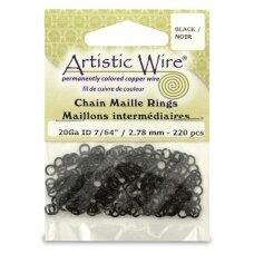 Artistic Wire® Chain Maille atviri žiedeliai/kilputės 20 Gauge/2.78mm Black (juodi) (220 vnt)