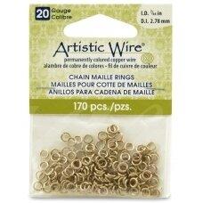 Artistic Wire® Chain Maille atviri žiedeliai/kilputės 20 Gauge/2.78mm Brass (žalvario spalvos) (170 vnt)