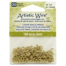 Artistic Wire® Chain Maille atviri žiedeliai/kilputės 20 Gauge/3.18mm Brass (žalvario spalvos) (150 vnt)