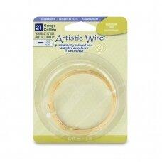 Artistic Wire® plokščia vielutė 21 Gauge/0.75mm aukso spalvos sidabro padengimas (0.91m/3ft)
