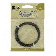Artistic Wire® vielutė 16 Gauge/1.3mm Black (juoda) (3m/10ft)