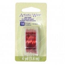 Artistic Wire® vielutė 18 Gauge/1mm Red (raudona) (3.6m/11.8ft)